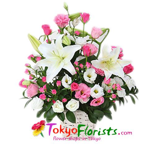 Flowers flowers basket fresh flowers basket white pink send fresh flowers basket white and pink to tokyo mightylinksfo