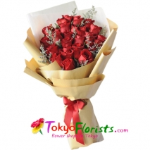 send two dozen red roses in bouquet to tokyo