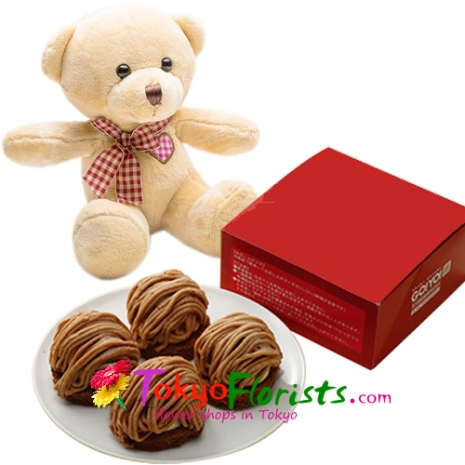 send a soft teddy bear with rare chocolate mont blanc to tokyo