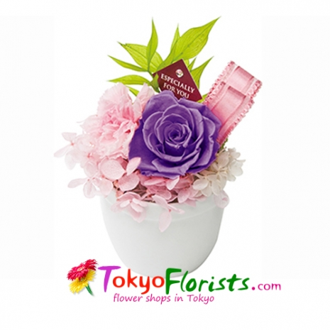 send candy purple preserved flower to tokyo