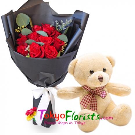 send cute teddy bear with a bouquet to japan