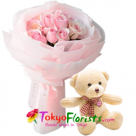 send one dozen pink roses with a soft cuddly teddy bear to tokyo