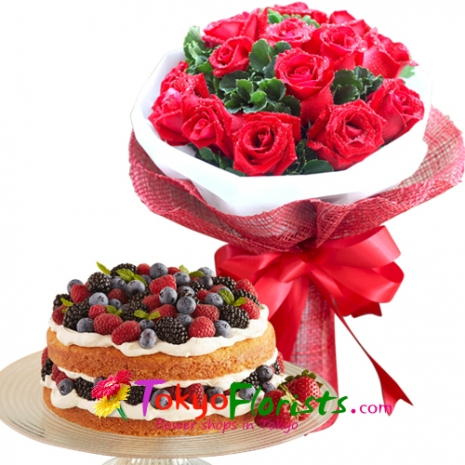 send 12 red roses bouquet with berries torte cake to tokyo