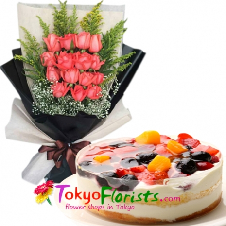 send one dozen pink roses with berries torte cake to tokyo