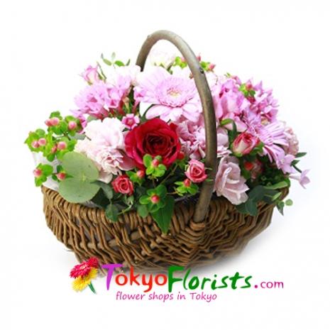 send natural basket pink to tokyo japan