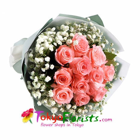 send 12 pink color roses bouquet to tokyo