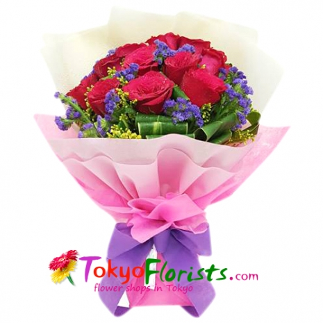 send 12 red color roses in bouquet to tokyo
