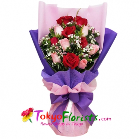 send 12 red and pink roses in bouquet to tokyo