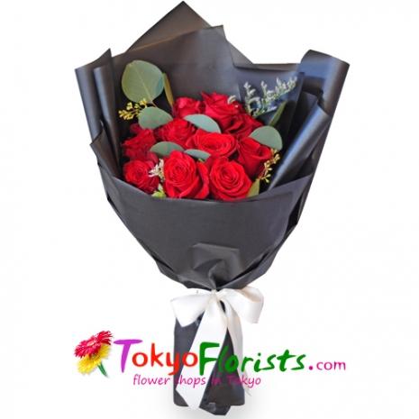 send one dozen roses in bouquet  to tokyo
