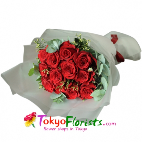 send 12 pcs messenger of love roses to tokyo