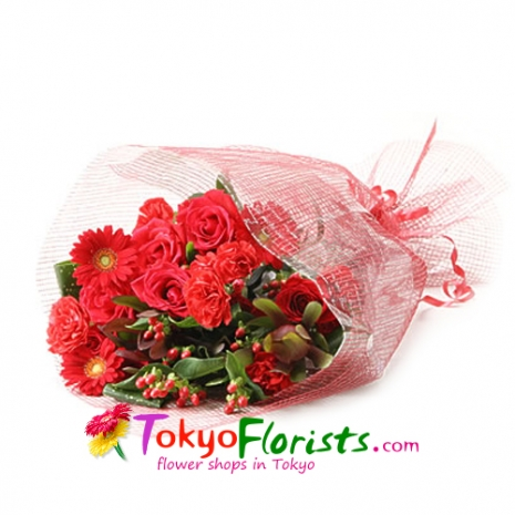 send red passion flowers bouquet to tokyo
