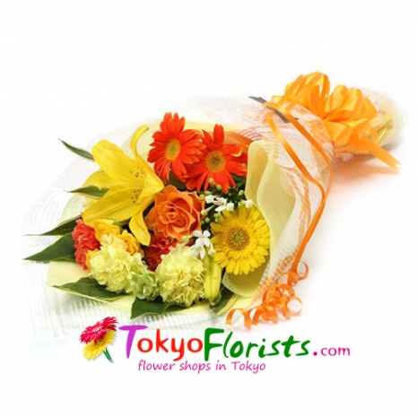 send sunny days flowers bouquet to tokyo