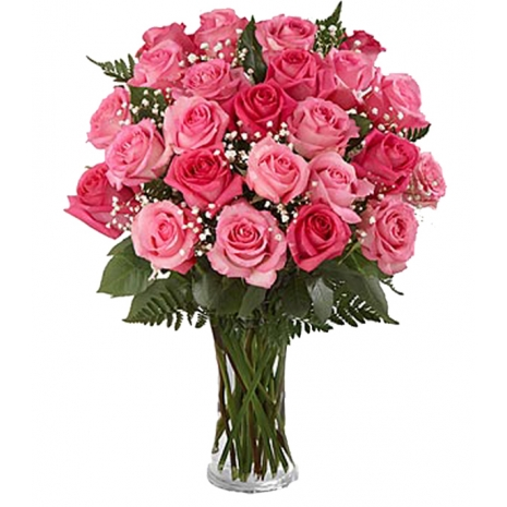 send 12 pink rose in vase to tokyo