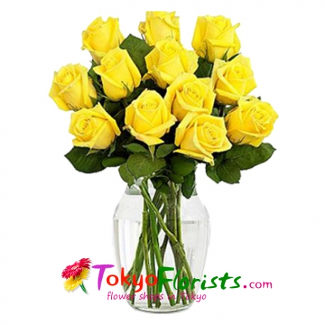 send 12 bouquet of yellow roses to tokyo